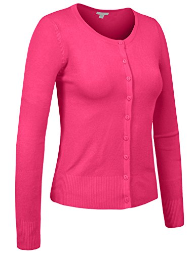 J. LOVNY Womens Basic Casual Light Scoop Neck Button Down Cardigan Sweater (H&m Halloween Outfits)