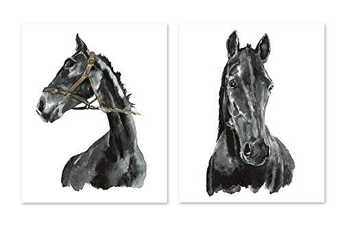 Horse art #A003 - Set of 2 art prints(8x10).Black and white Horse art.Black horse wall art. Horse art print.Horse wall art.Horse pictures.Pictures of horses.horse watercolor.horse painting. from AntonyPrint