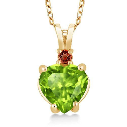 1.54 Ct Heart Shape Green Peridot Red Garnet 14K Yellow Gold Pendant 14k Yellow Gold Peridot Pendant