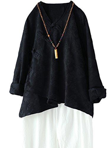 Classe V Manches T Noir Model Chinois Top Lin Col MatchLife Tunique Femme Longues en Shirt 064EEOqW
