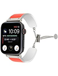 Juzzhou Bands for Apple Watch iWatch Series 1 2 3 4 Edition Wrist Strap Stainless Steel Replacement Wriststrap Wristband Bracelet with Adjustable Buckle for Women Girl Lady Boy Orange red 38mm 40mm