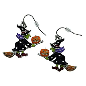 Halloween Drop Dangle Earrings Witch on a Broom Stick | Cool Ear Ring Style Silver Plated Gift Idea