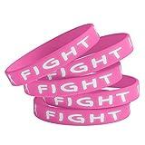 Shop4Ever Breast Cancer Support Bracelets Pink Fight Rubber Wristbands