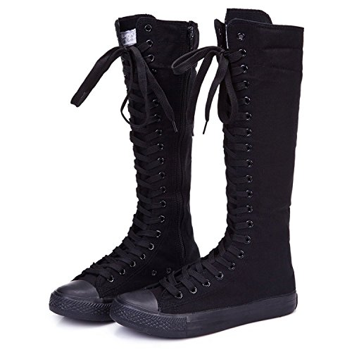Sneaker Boot (NEWCOSPLAY Women's Knee High Lace-Up Canvas Zip Dance Cheerleading Shoes Boots (9.5 B(M) US, 905Black))