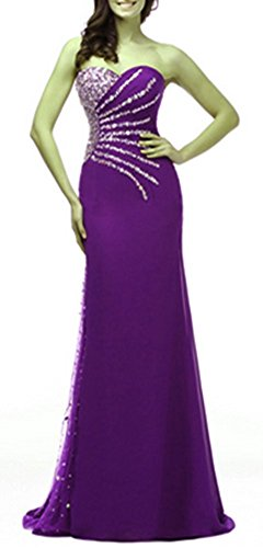 Homecoming emmani Kleid Langes Kleid Kleid Brautjungfer Party Kleid Chiffon Violett Trägerloses Damen x1gqx6f0