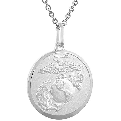 (Sterling Silver Eagle Globe and Anchor Necklace EGA 7/8 inch Italy Round)