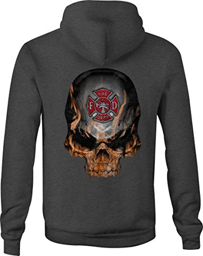 Zip Up Hoodie Flaming Skull Fire Fighter Maltese Cross Flames - Large Gray