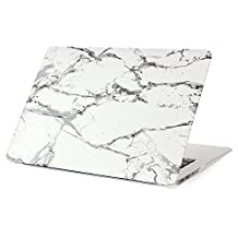 """JUNCHI MacBook Air 11.6"""" Case, Hard Case Print Frosted for MacBook A1370/A1465- Marble Hard Shell Clip Snap Hard Cover No CD Drive (White/Grey Macbook air 11.6"""")"""