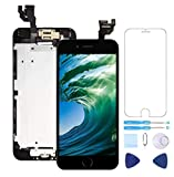 Screen Replacement for iPhone 6 Black 4.7' Inch LCD Display Touch Digitizer Frame Assembly Full Repair Kit,with Home Button,Proximity Sensor,Ear Speaker,Front Camera,Screen Protector,Repair Tools