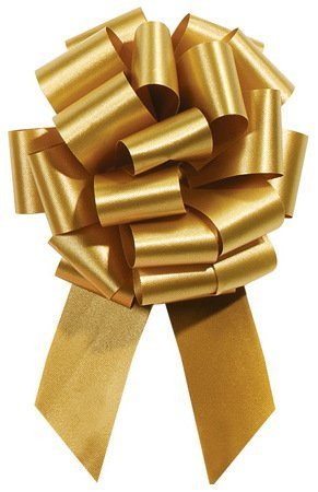 Holiday Gold Pull String Bows - 8 Inch Wide 20 Loops Large (2 and 1/2 Inch Ribbon) Set of 10