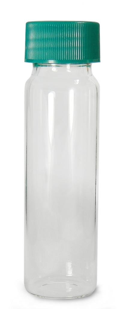 Qorpak GLC-00978 Borosilicate Glass 1.85mL Clear Type I Screw Thread Vial, with Green Thermoset F217 and PTFE Lined Cap Attached, 11.65mm Diameter x 35mm Height (Case of 144)