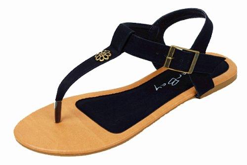 New Starbay Brand Women's T-Strap Black Gladiator Flats Sandals Size - Matchy Matchy Fashion
