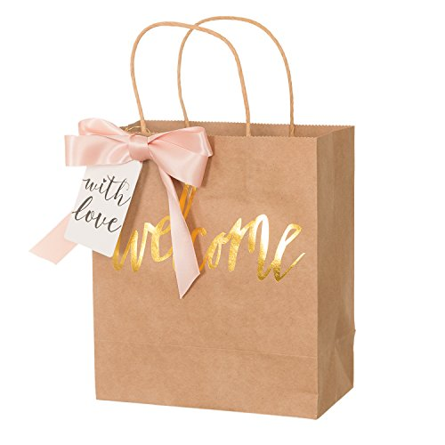 Ling's Moment Set of 12 Gold Foil Wedding Welcome Bags with Peach Bows and Tags for Wedding Hotel Guests, Weekend Destination Wedding Favors