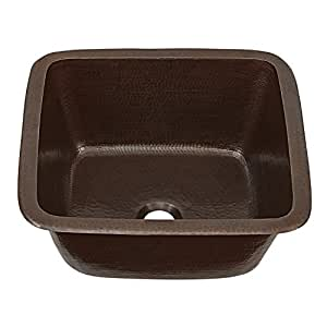 """Sinkology SP501-15AG Greco Dual Mount Handmade Pure Solid Prep Bar Sink, 15"""", Aged Copper"""