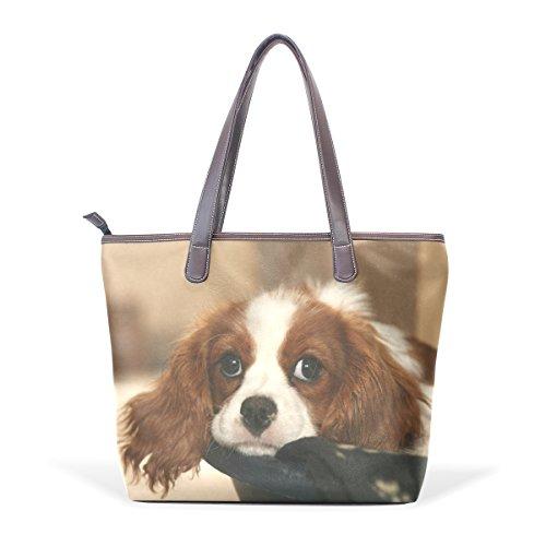 Coosun Damen Einzigartiges Design Cutie Hund Pu Leder Große Einkaufstasche Griff Schultertasche Einkaufstaschen Casual Taschen Handtasche für Mädchen