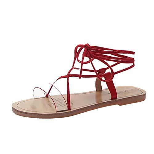 Amlaiworld Women Summer Sandals Shoes Roman Shoes Beach Open Toe Flat Sandals Slip On Cross Strap Elegant Shoes Red ()