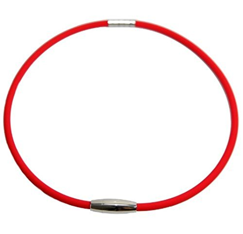 Best New Red Ttianium Magnetic Therapy Power Sport Energy Balance Baseball Necklace Buy Now (Rubber Necklace Sports)