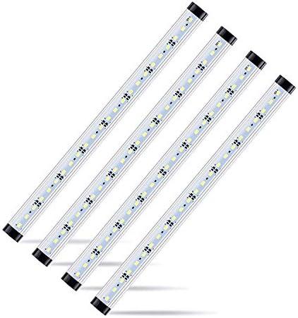 4pcs Motion Sensor LED Under Cabinet Lighting Kit – Extendable Under Counter LED Light Bar for Gun Box, Locker, Closet, Shelf, Reception Desk, Kitchen, Show Case Lighting Pure White 6500K