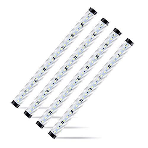 4pcs Motion Sensor LED Under Cabinet Lighting Kit - Extendable Under Counter LED Light Bar for Gun Box, Locker, Closet, Shelf, Reception Desk, Kitchen, Show Case Lighting(Pure White 6500K) -