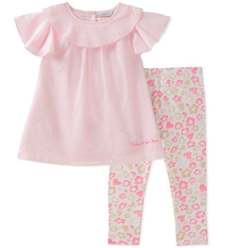 Calvin Klein Baby Girl's Tunic Legging Set Pants, Pink/Print, 24M by Calvin Klein
