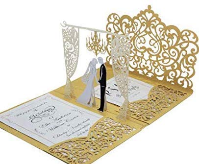 Pack of 20 Gold 3D Pop up Laser Cut Wedding Invitation Pocket-Folds with Envelopes