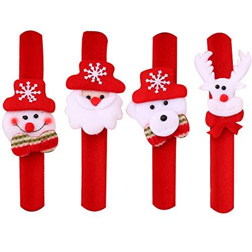 SpringPear 4X Cute Slap Bracelet Fashionable Xmas Party Accessories for Kids & Adult (Reindeer Bear Santa Claus Snowman)