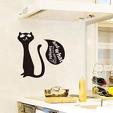 Pegatinas Gato lindo Gatito ¿Qué comemos? Etiqueta de pared de ...