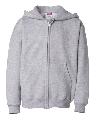 Champion Boys Boys' Big Powerblend Eco Fleece Full Zip Hoodie, Light Steel, L ()