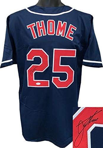 size 40 aff8b 8a9ee Autographed Jim Thome Jersey - Navy TB Custom Stitched XL ...