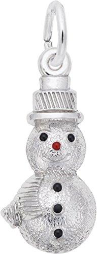 Rembrandt Black & Red Enamel Snowman Charm - Metal - 14K White - Charm White Snowman