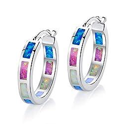 Gold Plated Colorful Opal Women Hoop Earrings