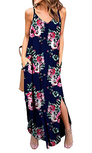 Silvous Women's Sleeveless Maxi Dresses Casual Long Dresses with Pockets (CamiNavyBlue XL)
