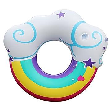 ZHANGJIANJUN Nubes de Arco Iris Anillo de Natación Piscina Hinchable Flotar con portavasos Nubes Nadar Piscina