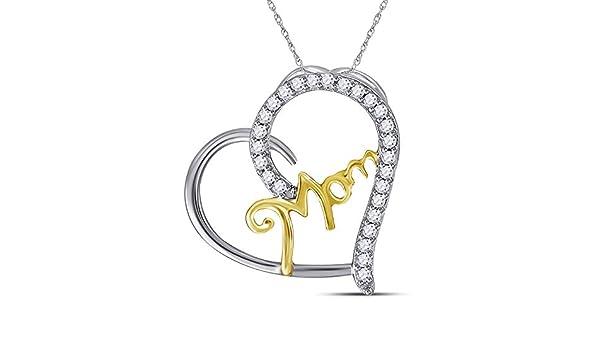 I3 Mia Diamonds Sterling Silver Womens Round Diamond Heart Pendant .10cttw