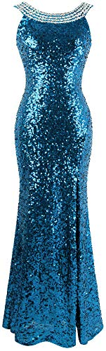 Fashion Beading - Angel-fashions Women's Round Neck Beading Sequin Backless Slit Party Dress Small Sky Blue