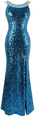 Sexy Col fashions Pailletee Bleu Femme Angel Ciel Rond Robe Blinging De Split Perles Soiree qZEtdwdA