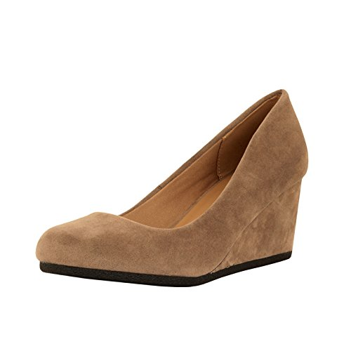 Guilty Shoes Classic Office Wedge - Comfort Soft Low Heel - Round Toe Pumps Shoes (7 M, Taupe Suede)