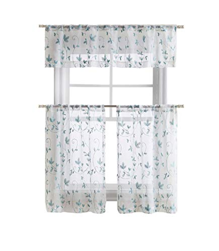 Floral Embroidered Semi Sheer Kitchen Curtain Tier & Valance Set