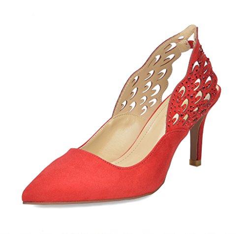 DREAM PAIRS Women's Wings RED Fashion Heel Stilettos Pointed Toe Pump Shoes Size 11 B(M) US - Slingback Platform Pumps