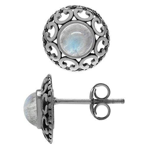 Natural Moonstone 925 Sterling Silver Filigree Stud/Post Earrings