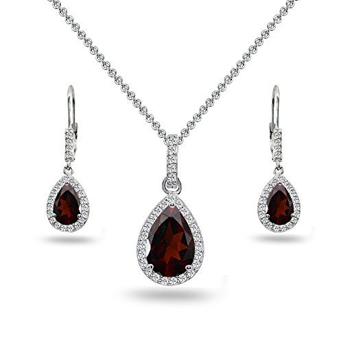 Sterling Silver Garnet & White Topaz Teardrop Halo Dangling Necklace & Leverback Earrings
