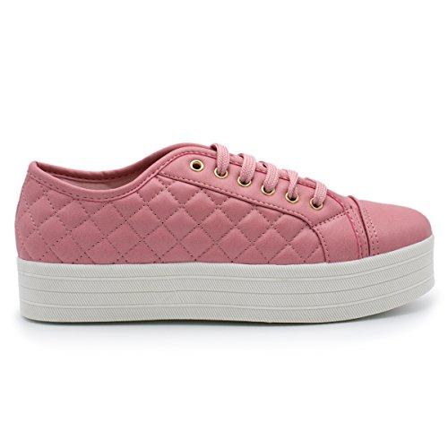 Breckelles - Kvinnor Mjuka Vadderade Mode Sneaker Rosa