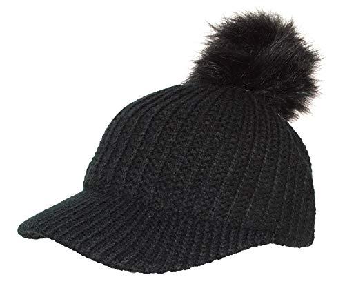 Rising Phoenix Industries Warm Ribbed Knit Visor Beanie Baseball Cap Hat w/Removable Faux Fur Pom Pom (Black)