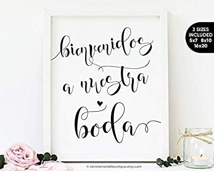 photo about Wedding Signs Printable titled ntART Bienvenidos A Nuestra Boda Indicator Printable Spanish