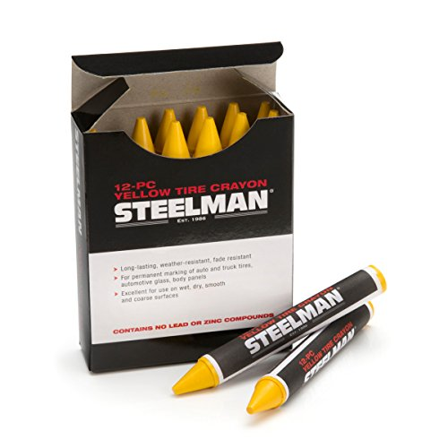 Steelman 00062 Yellow Tire Marking Crayons, Box of 12