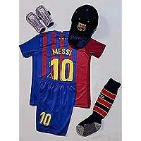 New 2021-2022 Kids Soccer Jersey Barcelona #10 Messi Home Red Blue Fan Jersey Top+Shorts+Cap+Shin Guard+Socks Kit