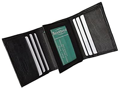 Mens Black Leather Wallet Lamb Classic Trifold by Marshal wallet
