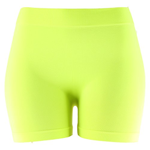 Basic Solid Biker Short Spandex Yoga Leggings (12 inch, Neon Yellow)