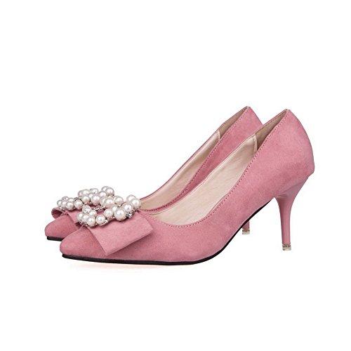 AalarDom Mujer de Puntera de Diamante Joyas Punta De en Tacón Imitación Rosa Esmerilado salón aguja con rrd7qw