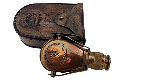 3'' POCKET MONOCULAR - Brass Spyglass Telescope with Leather Case…. by U.S Handicrafts